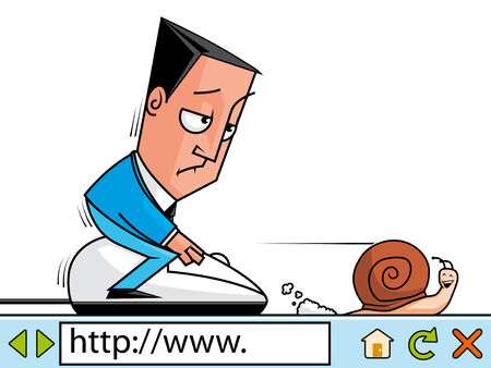 slow: Businessman surfing the net at slow velocity