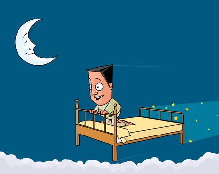 lenght:  Man over the bed  flying  in the night sky