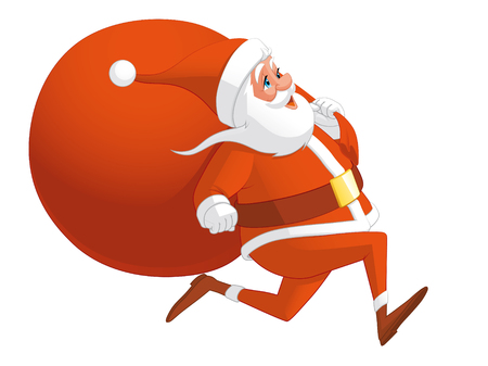 lenght: Santa running with the bag full of gifts Stock Photo