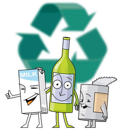 Vector illustration Brick, bottle and can characters in front of recycle symbol illustration