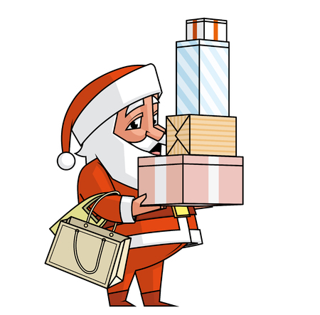 lenght: Santa holding boxes and bags