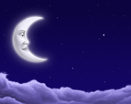 crescent moon: Illustration of smiling moon in the night