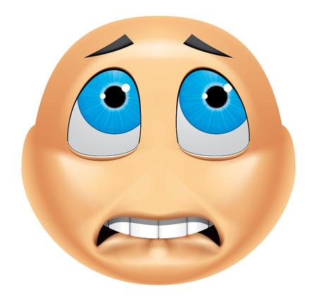frighten: Emoticon afraid Stock Photo