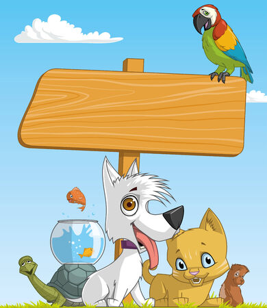 lenght: Illustration of a group of pets and blank sign Stock Photo