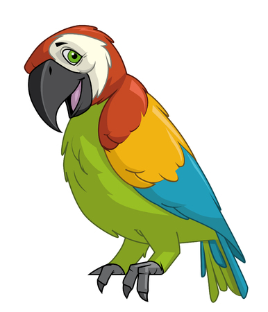 lenght: Isolated illustration of a parrot Stock Photo