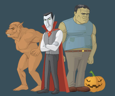 fullbody: Isolated illustration of Halloween monsters