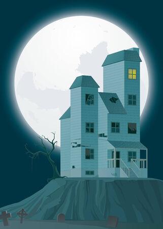 ruined house: Illustration of Haunted house Stock Photo