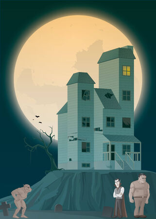 Illustration of Haunted house and monsters illustration