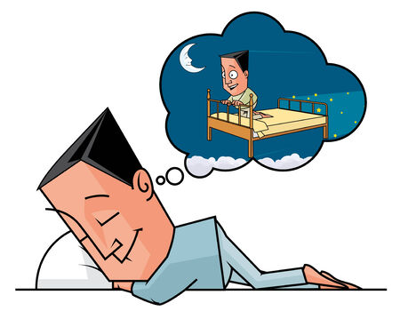 lenght: Isolated illustration of a man having a dream Stock Photo