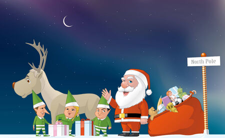 lenght: Illustration of Santa, elfs and reindeer in the North Pole