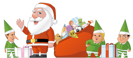 elfs: Isolated illustration of Santa and elfs group