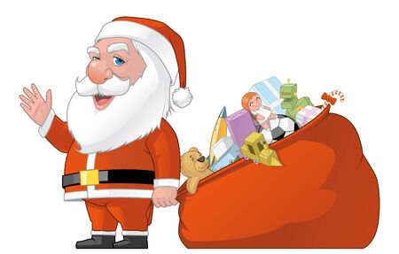 lenght: Isolated illustration of Santa with the bag full of gifts