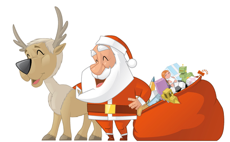 fullbody: Isolated illustration of Santa with bag full of gifts and reiindeer