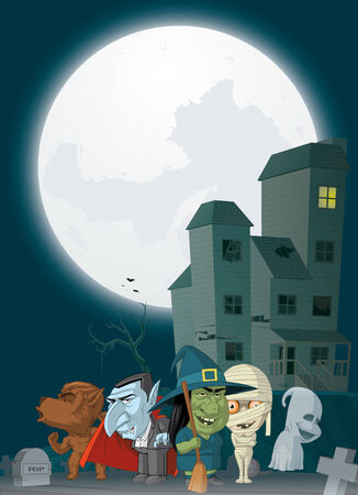 monsters house: Illustration of Haunted house and monsters