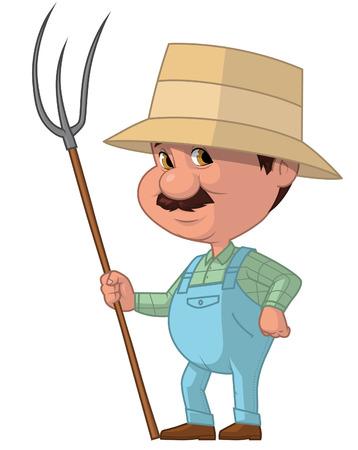 lenght: Cartoon illustration of farmer on white