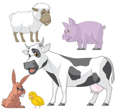 lenght: Illustration set of farm animals on white