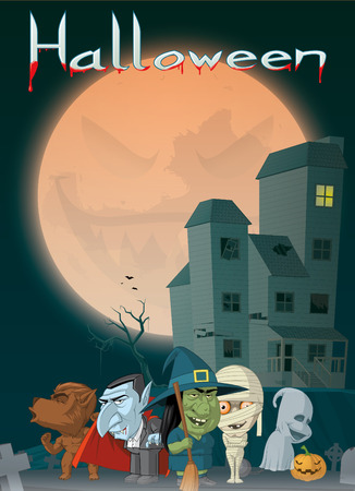 monsters house: Illustration of Haunted house and monsters at Halloween Stock Photo
