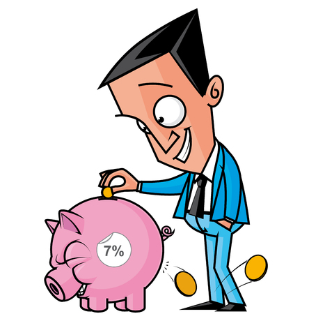 interests: Isolated illustration of a  Man getting interests from his savings