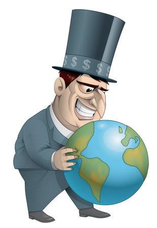 fullbody: Illustration on white background of Rich man holding the world Stock Photo