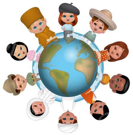Ilustración sobre fondo wihte de niños en todo el mundo Foto de archivo - 37099432
