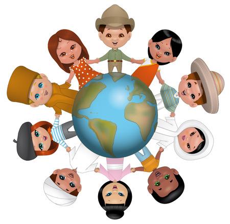 Illustration on wihte background of Children holding hands around the world