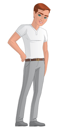 lenght: Illustration on white background of a young man Stock Photo