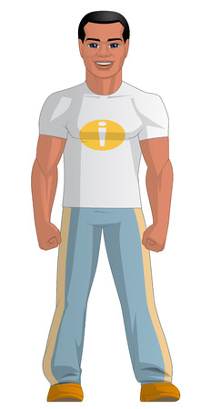 man full body: Illustration on white background of a young man Stock Photo