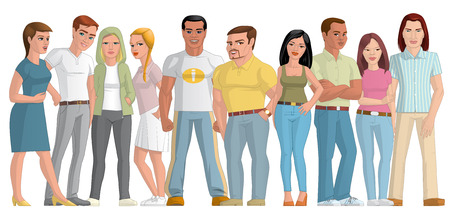 fullbody: Illustration on white background of a group of young people Stock Photo