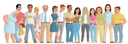 fullbody: Illustration on white background of a Group of people