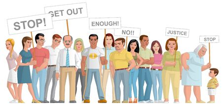 lenght: Illustration on white background of a Group of people  manifesting