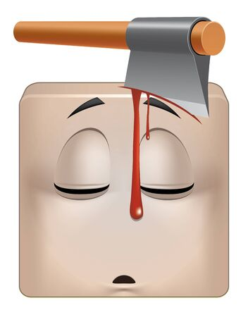 murdering: Illustration on white background of Square emoticon dead