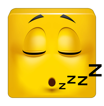 somnolent: Illustration on white background of Square emoticon sleeping