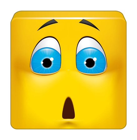 shocked: Illustration on white background of Square emoticon shocked