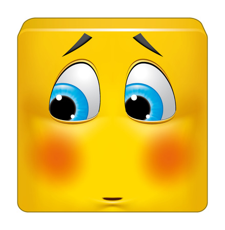 blush: Illustration on white background of Square emoticon ashamed