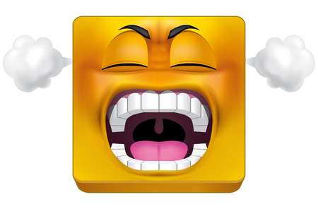 furious: Illustration on white background of Square emoticon furious