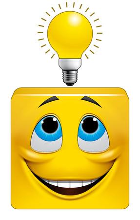 Illustration on white background of Square emoticon eureka Stock Photo