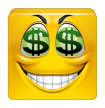 greedy: Illustration on white background of Square emoticon greedy Stock Photo