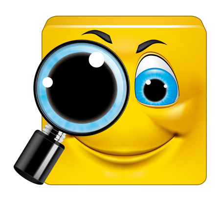 amplify: Illustration on white background of Square emoticon  searching Stock Photo