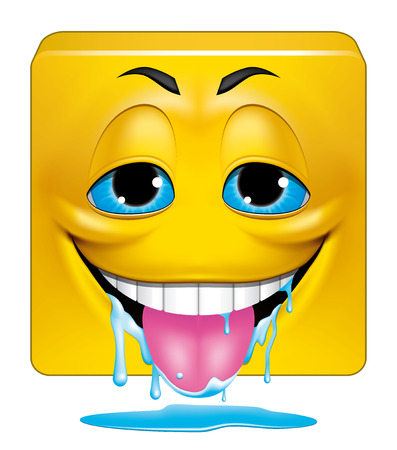 drooling: Illustration on white background of Square emoticon drooling