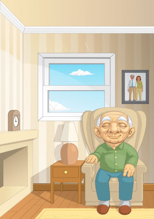Illustration of An Old man sitting on the couch in his living room