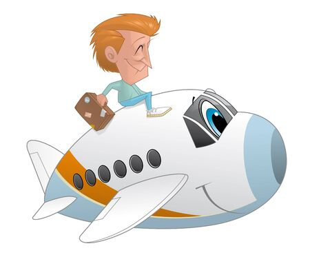 traveler: Illustration of Traveler with the suitcase on an airplane character