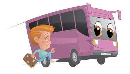 alongside: Illustration of Traveler running alongside a bus