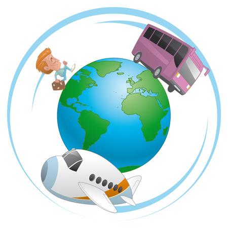 traveler: Illustration of Traveler, airplane and bus  traveling around the world