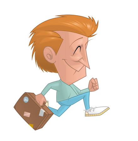 traveler: Illustration of Traveler running with the suitcase Stock Photo