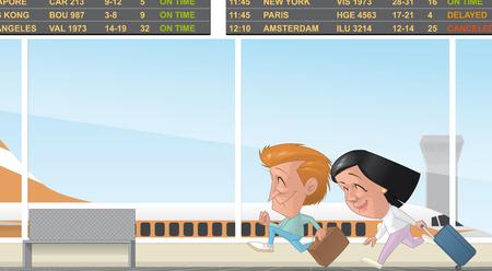 bagagli: Illustrazione di una coppia in esecuzione nel terminal dell'aeroporto