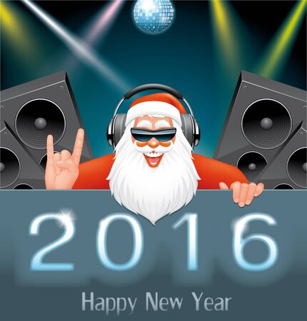 new year party: Illustration of DJ Santa in the New Year party