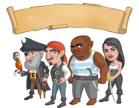 lenght: Illustration of a pirate group