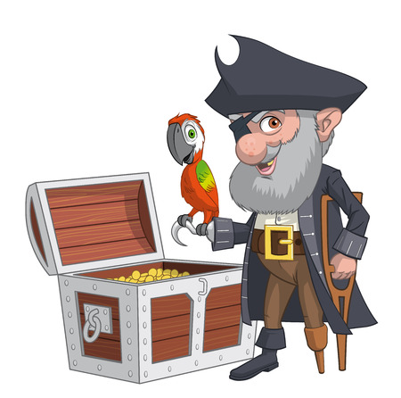 fullbody: Illustration of an old pirate with his treasure chest