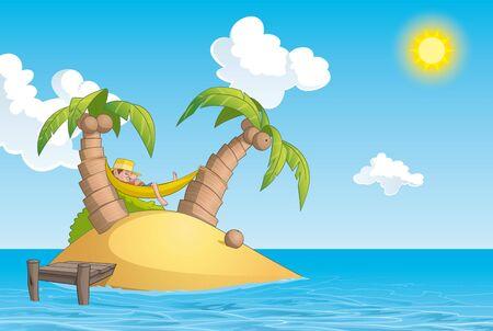 summer cartoon: Illustration of Man lying on a hammock in an island Stock Photo