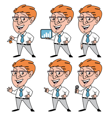lenght: Set of cartoon businessman in different poses